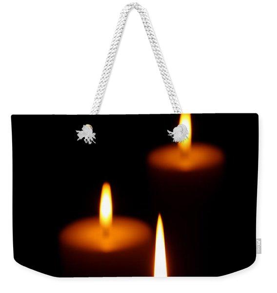 Three Burning Candles Weekender Tote Bag