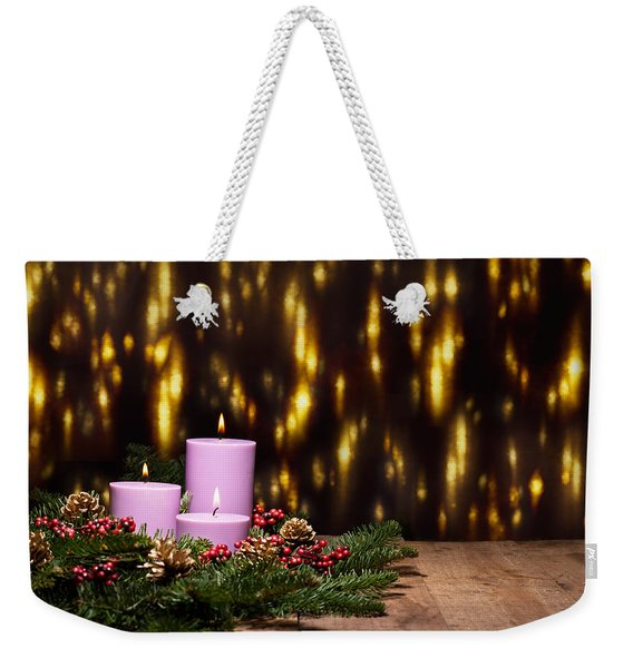 Three Candles In An Advent Flower Arrangement Weekender Tote Bag