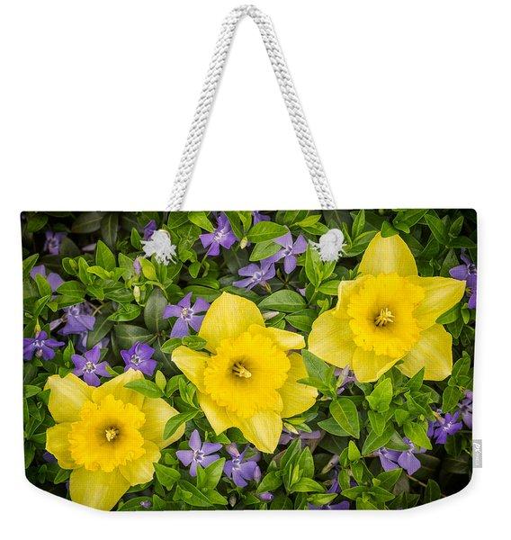 Three Daffodils In Blooming Periwinkle Weekender Tote Bag