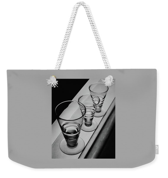 Three Glasses On A Shelf Weekender Tote Bag