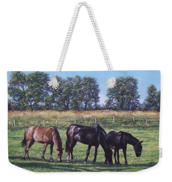 Three Horses In Field Weekender Tote Bag