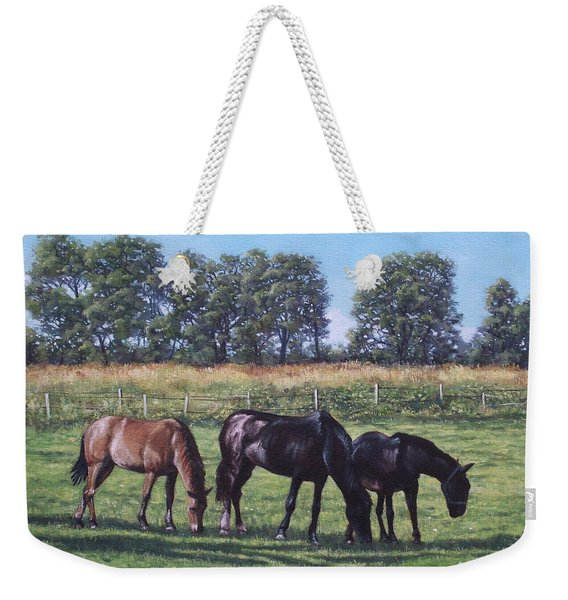 Three Horses In Field Weekender Tote Bag