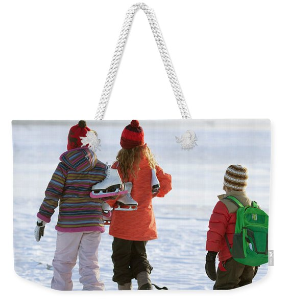 Three Kids Heading Out To Ice Skate Weekender Tote Bag