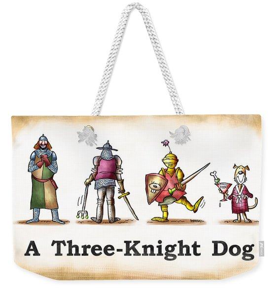 Three Knight Dog Weekender Tote Bag