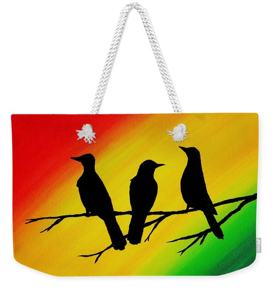 Three Little Birds Original Painting Weekender Tote Bag
