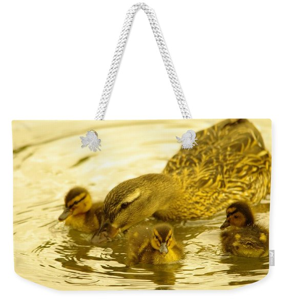 Three Little Duckies And Mom Weekender Tote Bag