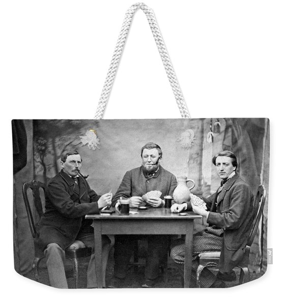 Three Men Playing Cards Weekender Tote Bag
