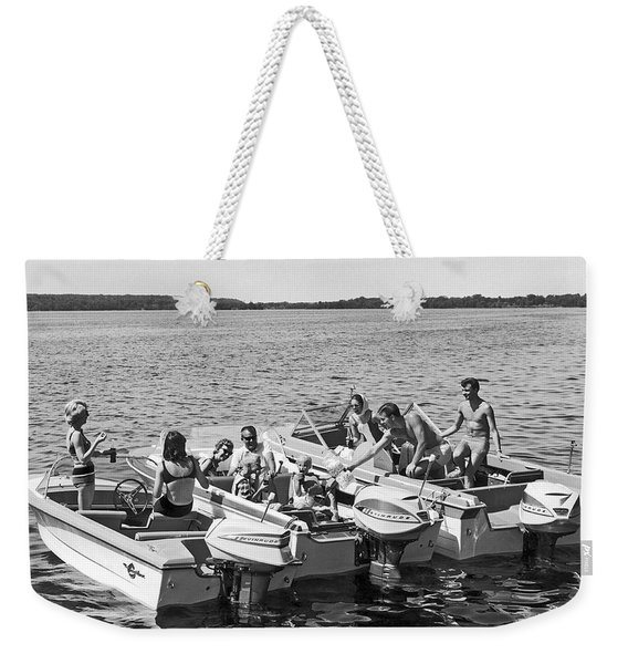Three Power Boats Gather Together For Summer Boating Fun Weekender Tote Bag
