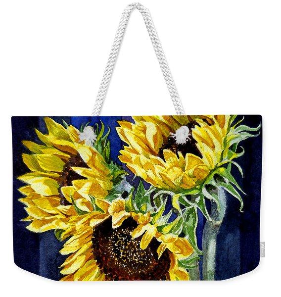 Three Sunny Flowers Weekender Tote Bag