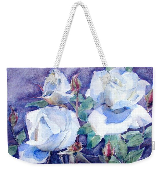 White Roses With Red Buds On Blue Field Weekender Tote Bag