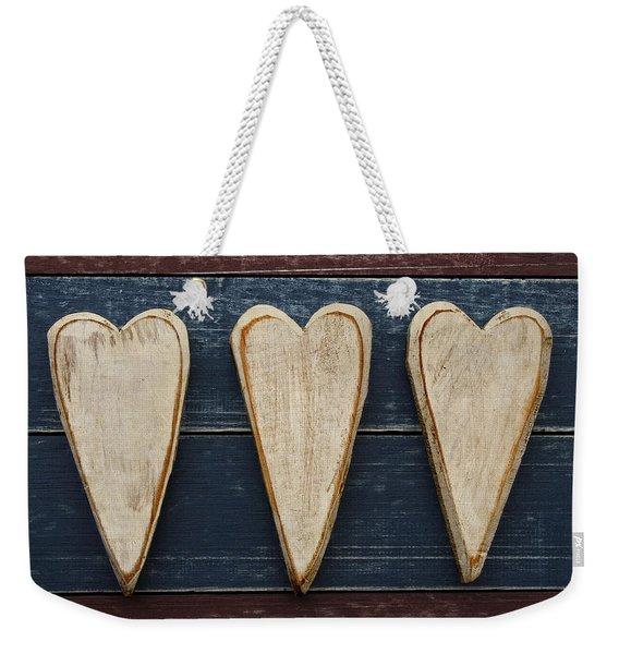Three Wooden Hearts Weekender Tote Bag