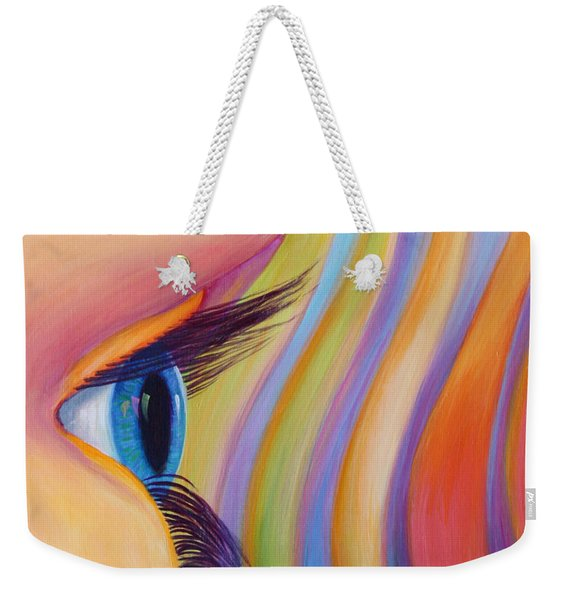 Weekender Tote Bag featuring the painting Through The Eyes Of A Child by Sandi Whetzel