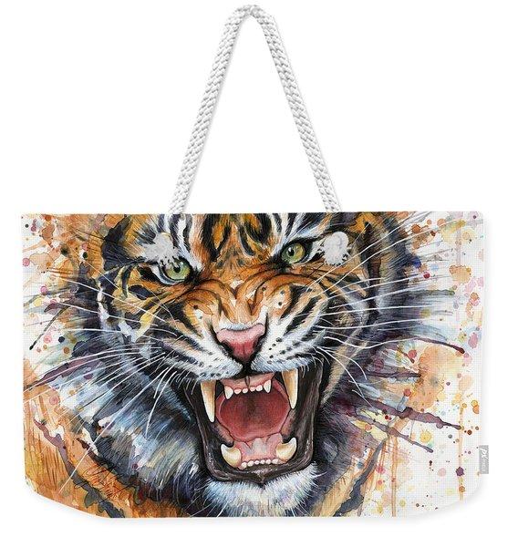 Tiger Watercolor Portrait Weekender Tote Bag