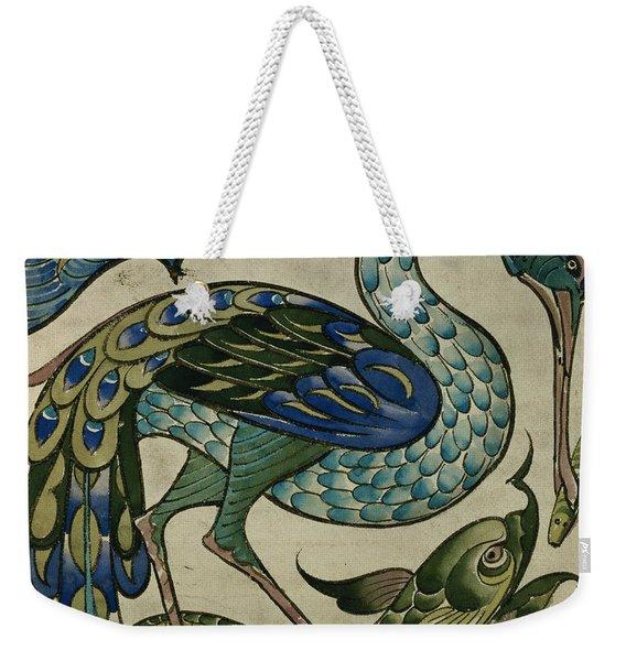 Tile Design Of Heron And Fish Weekender Tote Bag