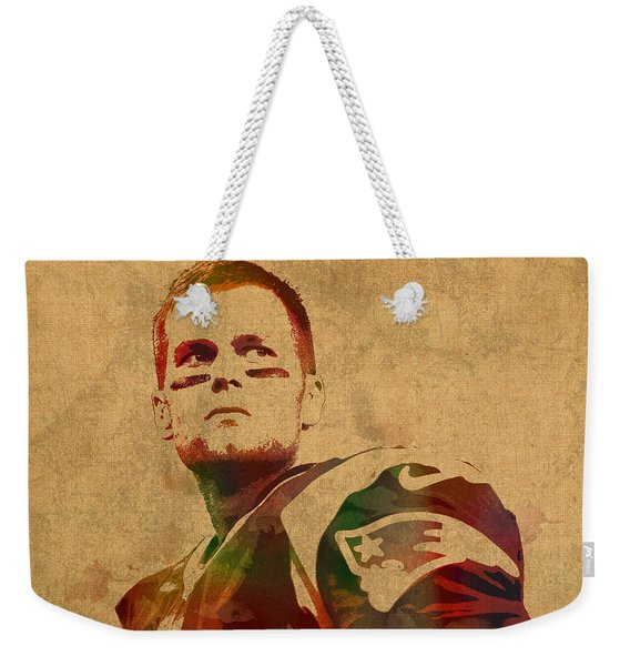 Tom Brady New England Patriots Quarterback Watercolor Portrait On Distressed Worn Canvas Weekender Tote Bag