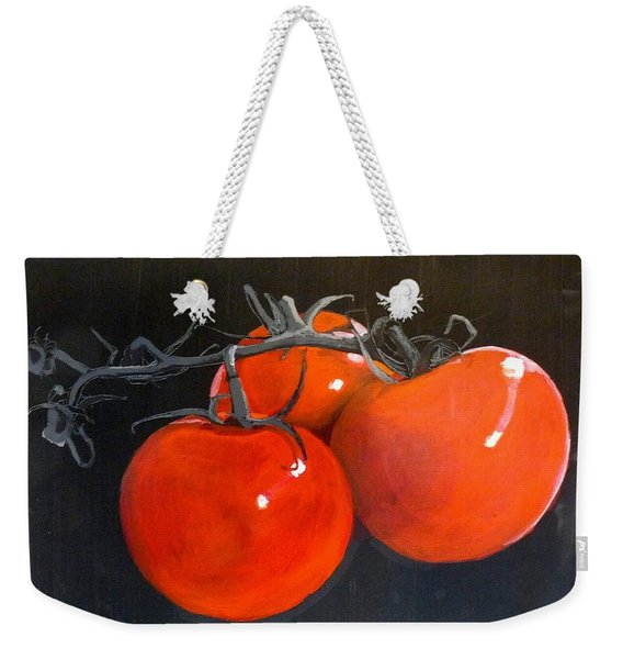 Weekender Tote Bag featuring the painting Tomatoes by Richard Le Page