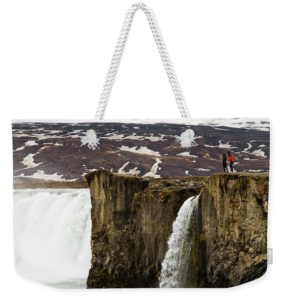 Tourist Exploring Godafoss Waterfall Weekender Tote Bag