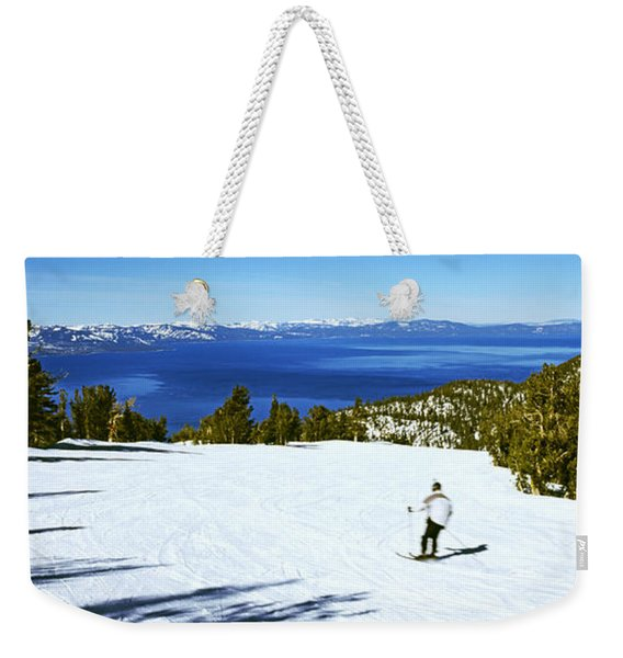 Tourist Skiing In A Ski Resort Weekender Tote Bag
