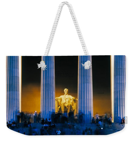 Tourists At Lincoln Memorial Weekender Tote Bag