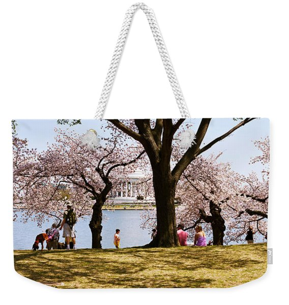 Tourists In A Park With A Memorial Weekender Tote Bag