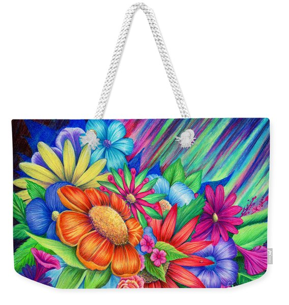 Weekender Tote Bag featuring the painting Toward The Light by Nancy Cupp