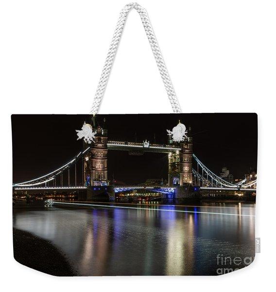 Tower Bridge With Boat Trails Weekender Tote Bag