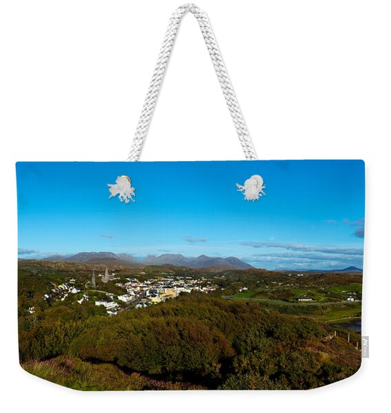 Town On A Hill With 12 Pin Mountain Weekender Tote Bag