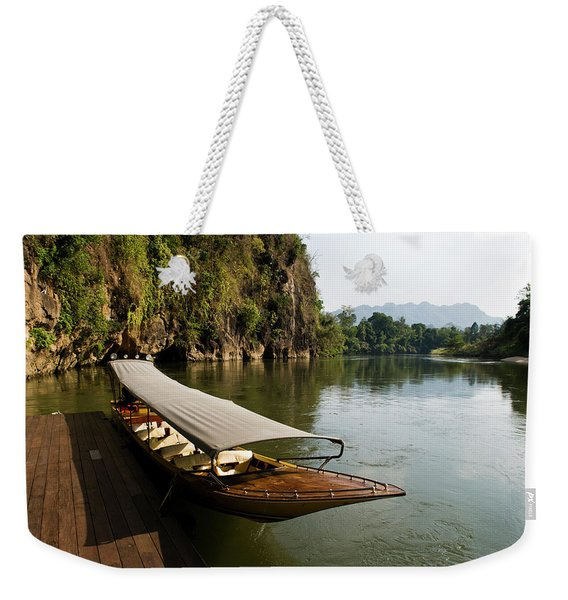 Traditional Thai Long Boat Docked Weekender Tote Bag