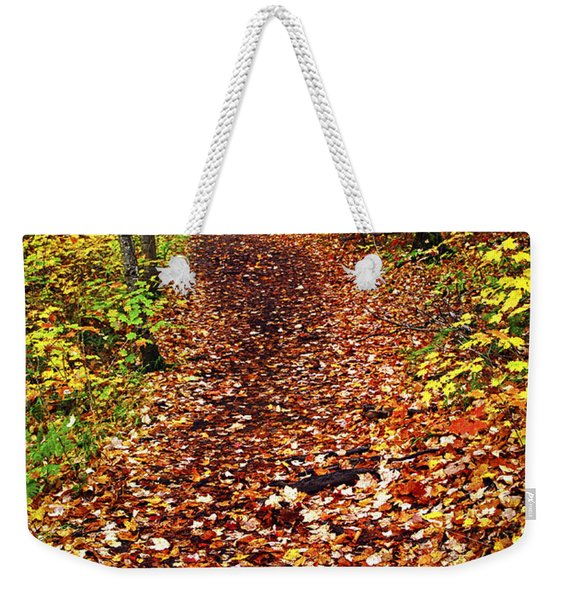 Trail In Fall Forest Weekender Tote Bag