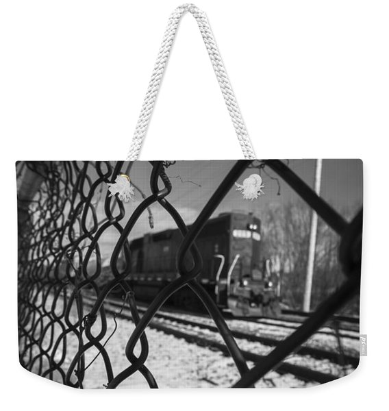 Train Through The Chain Link Fence Weekender Tote Bag