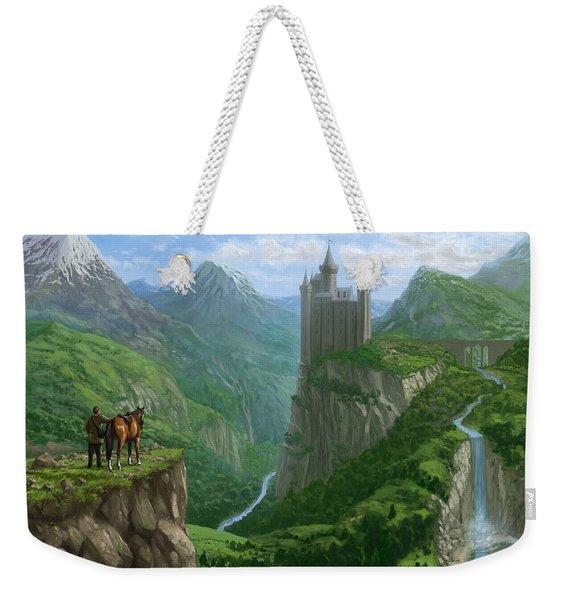 Traveller In Landscape With Distant Castle Weekender Tote Bag
