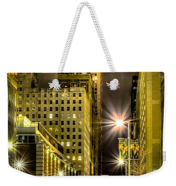 Travis And Lamar Street At Night Weekender Tote Bag