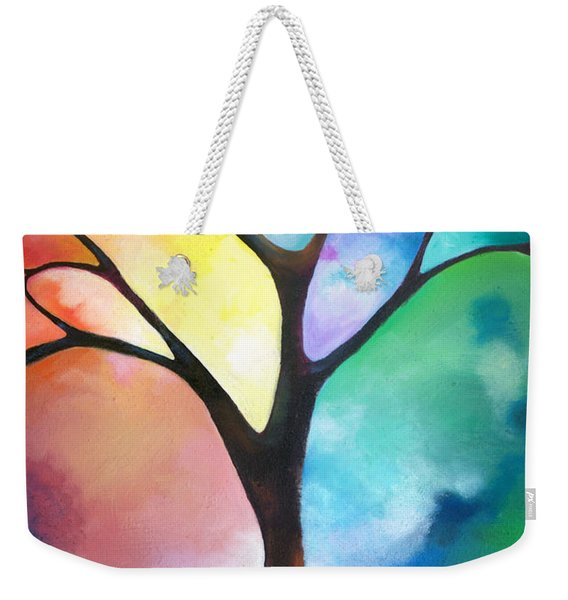 Original Art Abstract Art Acrylic Painting Tree Of Light By Sally Trace Fine Art Weekender Tote Bag