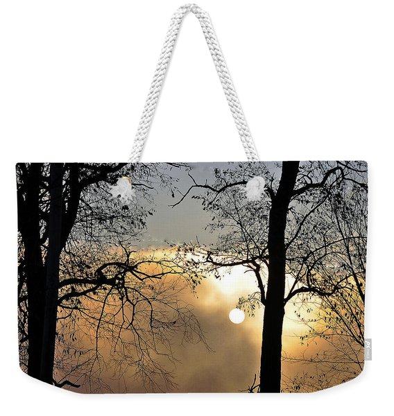Trees On Misty Morning Weekender Tote Bag