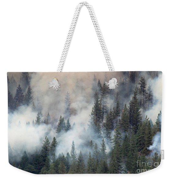 Beaver Fire Trees Swimming In Smoke Weekender Tote Bag