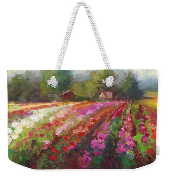 Weekender Tote Bag featuring the painting Trespassing Dahlia Field Landscape by Talya Johnson