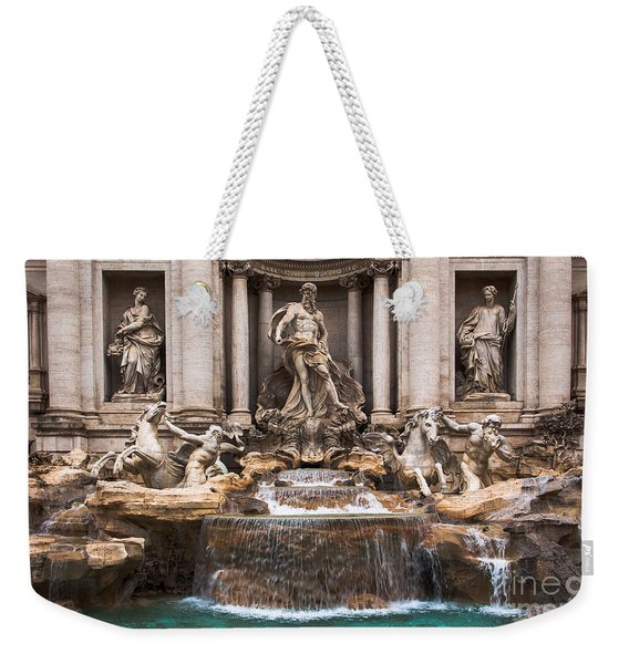 Weekender Tote Bag featuring the photograph Trevi Fountain by John Wadleigh