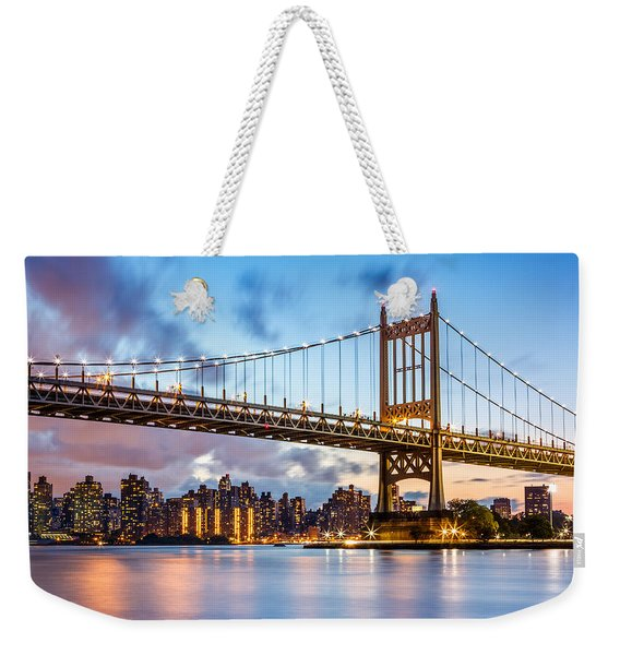 Weekender Tote Bag featuring the photograph Triboro Bridge At Dusk by Mihai Andritoiu