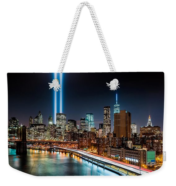 Weekender Tote Bag featuring the photograph Tribute In Light Memorial by Mihai Andritoiu