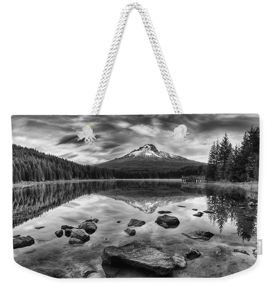 Trillium Lake Black And White Weekender Tote Bag