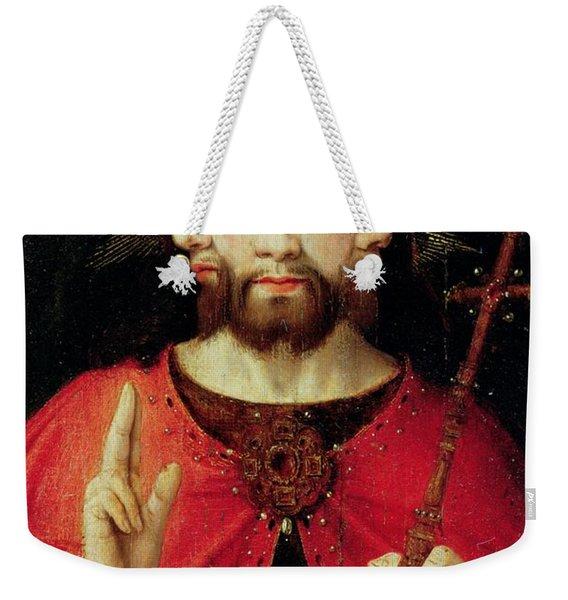 Trinitarian Christ, C.1500 Oil On Panel Weekender Tote Bag
