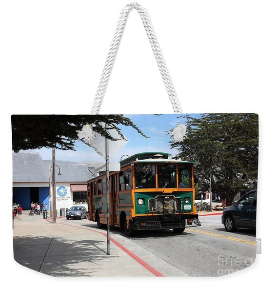 Trolley At The Monterey Bay Aquarium On Monterey Cannery Row California 5d25105 Weekender Tote Bag