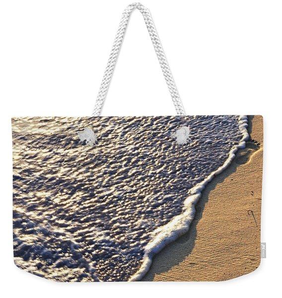 Tropical Beach With Footprints Weekender Tote Bag