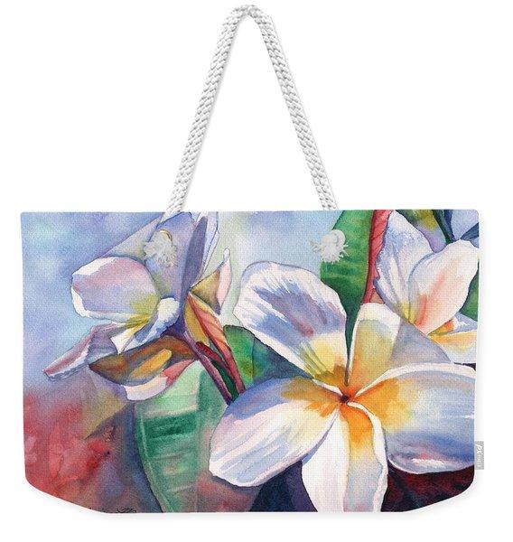 Tropical Plumeria Flowers Weekender Tote Bag