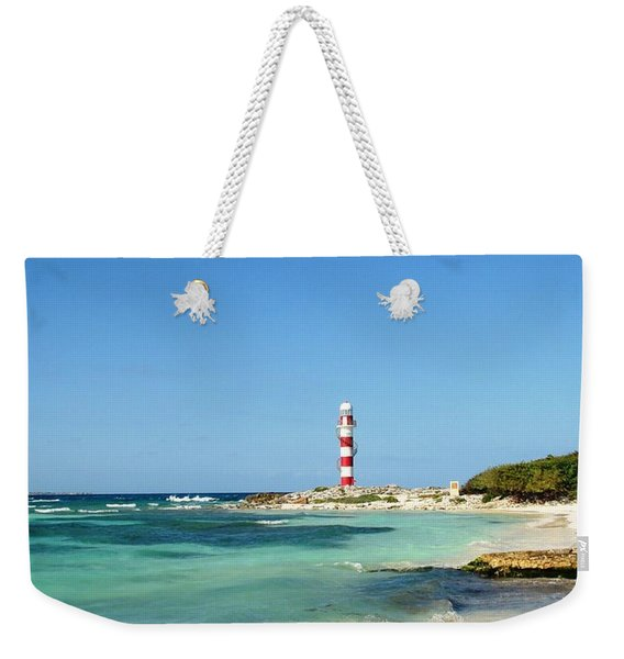 Tropical Seascape With Lighthouse Weekender Tote Bag