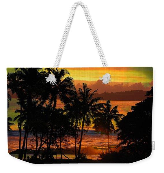 Tropical Sunset In Greens Weekender Tote Bag