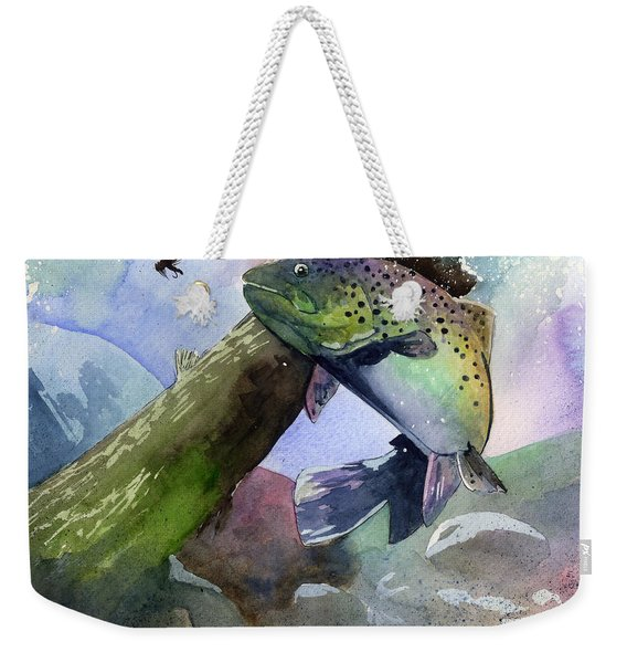 Trout And Fly Weekender Tote Bag