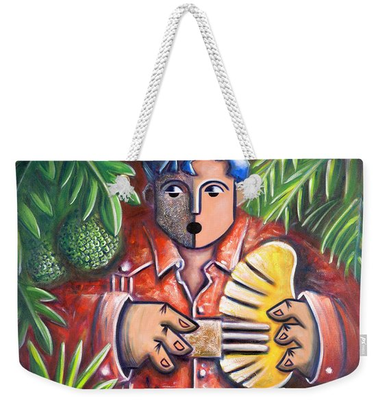 Weekender Tote Bag featuring the painting Trovador De La Pana by Oscar Ortiz