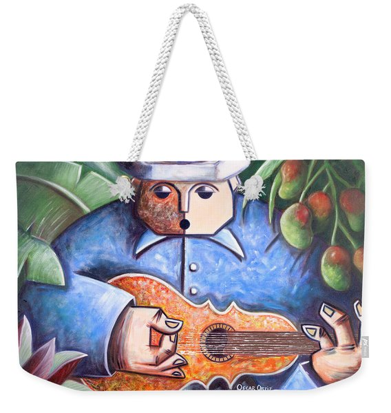 Weekender Tote Bag featuring the painting Trovador De Mango Bajito by Oscar Ortiz