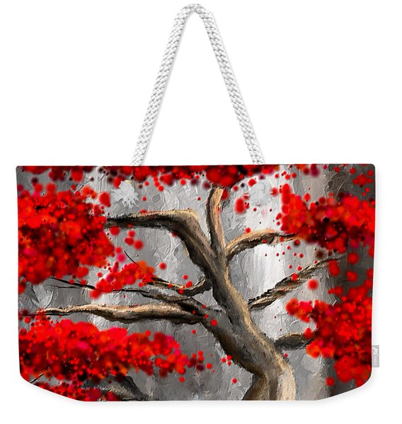 True Love Waits - Red And Gray Art Weekender Tote Bag